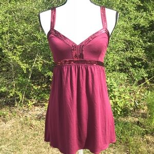 Express Sequin Tank Maroon Size M